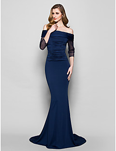 Trumpet/Mermaid Plus Sizes / Petite Mother of the Bride Dress - Dark Navy Sweep/Brush Train 3/4 Length Sleeve Jersey / Tulle
