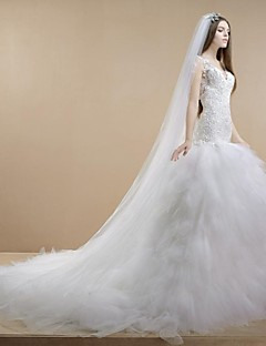 Trumpet/Mermaid Wedding Dress - White Cathedral Train V-neck Lace/Tulle