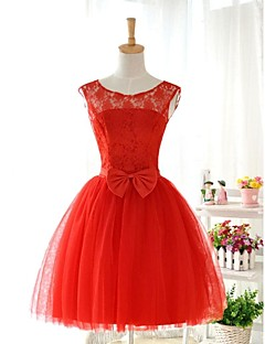 Knee-length Jewel Bridesmaid Dress - Lace-up Sleeveless Lace Tulle Stretch Satin