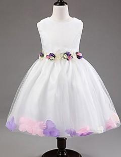 Flower Girl Dress Tea-length Satin/Tulle A-line/Princess Sleeveless Dress