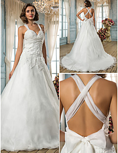 Lanting Bride A-line / Princess Petite / Plus Sizes Wedding Dress-Sweep/Brush Train Straps Organza