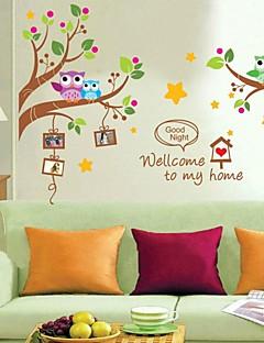 pared calcomanías pegatinas de pared, dibujo animado de los búhos de pvc árbol pegatinas de pared