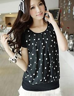 דפוס צווארון עגול חולצה נשים,קיץ שרוולים קצרים לבן / שחור דק פוליאסטר