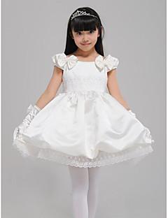 A-Lijn Knie-Lengte Bloemenmeisje jurk - Katoen/Satijn Korte mouw