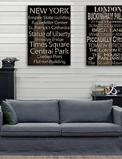 e-Home® opgespannen doek kunst engels woorden decoratief schilderen set van 2