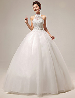 Ball Gown Wedding Dress Floor-length Halter Organza / Tulle with