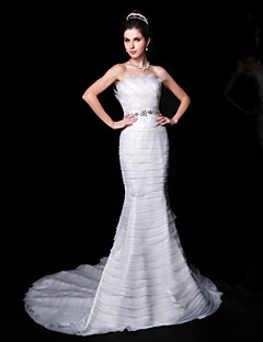 Trumpet/Mermaid Wedding Dress - White Court Train Strapless Organza/Charmeuse