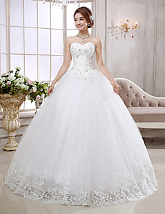 Princess Wedding Dress Lacy Look Floor-length Strapless Organza with Appliques Sequin
