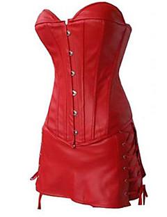 シェイプウェアのコルセットは、黒、赤のセクシーなランジェリーシェーパを合成皮革