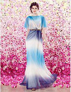 Homecoming TS Couture Formal Evening Dress - Fuchsia / Ocean Blue Sheath/Column Scoop Floor-length Velet Chiffon
