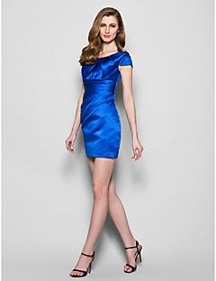 Sheath/Column Plus Sizes / Petite Mother of the Bride Dress - Royal Blue Short/Mini Short Sleeve Satin