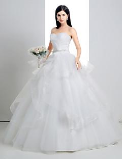 웨딩 드레스 - 화이트 볼 가운 바닥 길이 스윗하트 레이스/오르간자/샤르뫼즈
