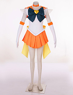 Inspired by Sailor Moon Sailor Uranus Video Game Cosplay Costumes Cosplay Suits Patchwork OrangeDress / Headpiece / Headband / Gloves /
