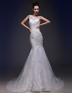 Trumpet/Mermaid Wedding Dress - Ivory Court Train Bateau Tulle/Charmeuse