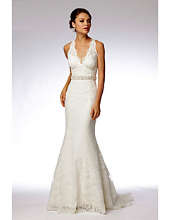 Trumpet/Mermaid Sweep/Brush Train Wedding Dress -Halter Lace