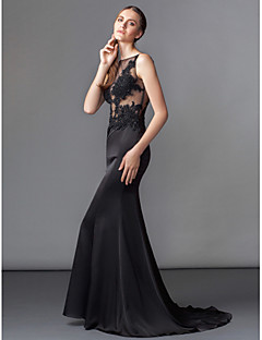TS Couture® Formal Evening Dress - See Through / Beautiful Back Plus Size / Petite Trumpet / Mermaid Bateau Sweep / Brush Train Charmeuse with