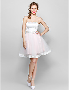 Knee-length Tulle/Stretch Satin Bridesmaid Dress Ball Gown Sweetheart