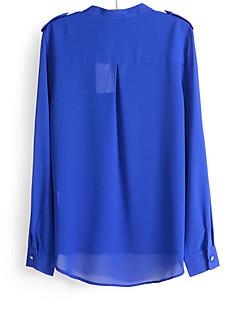 Mulheres Blusa Casual Simples Outono,Sólido Azul / Branco / Preto Algodão Decote V Manga Longa Fina