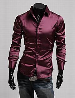 Langærmet Herre Ensfarvet Afslappet/Hverdag Arbejde Formelle Plusstørrelser Skjorte