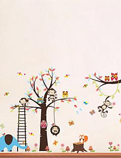 Wall Stickers Wall Decals, Style Owl Monkey Lion Elephant Nursery PVC Wall Stickers
