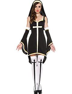 Seductive Nun Sleeveless Black Halloween Career Costumes