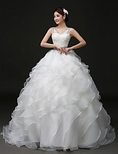 Vestido de Noiva - Branco Baile Em V Cauda Escova Organza/Cetim