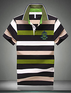 Men's Casual/Work/Formal/Plus Sizes Striped Short Sleeve Regular Polo (Cotton)