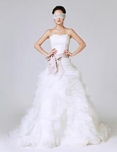 공주 웨딩 드레스 스윕 / 브러쉬 트레인 끈없는 스타일 레이스 / 오간자 / 스트래치 새틴 와