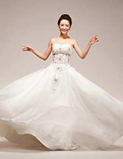 Princess Wedding Dress - White Floor-length Strapless Organza/Tulle