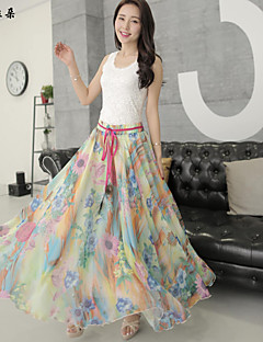 Women's Sexy/Beach/Casual/Print/Party/Maxi Maxi Skirts , Chiffon/Others