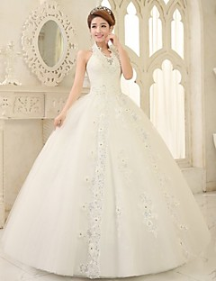 Ball Gown Sweep/Brush Train Wedding Dress -V-neck Lace