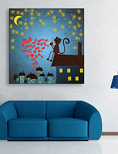 E-Home® gestreckt geführt Leinwanddruck Kunst der Katze auf dem Dach geführte blinkende Lichtwellenleiter Druck
