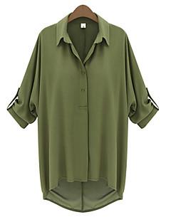 Vrouwen Eenvoudig Zomer Blouse,Casual/Dagelijks Effen Overhemdkraag Halflange mouw Zwart / Groen Medium