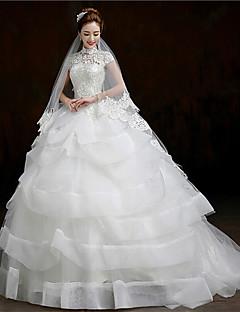 웨딩 드레스 - 화이트 볼 가운 쿼트 트레인 하이넥 오르간자