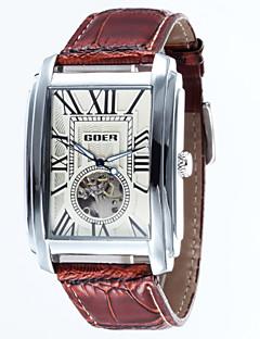 男性 スケルトン腕時計 機械式時計 耐水 自動巻き レザー バンド ラグジュアリー ブラック ブラウン
