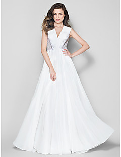 TS 문화가 공식적인 저녁 드레스 - 아이보리 - 라인 V 넥 바닥 길이 쉬폰