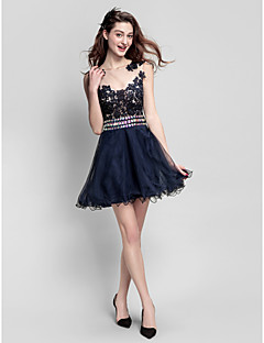 TS Couture Prom Company Party Dress - See Through A-line Jewel Short / Mini Tulle with Beading Lace