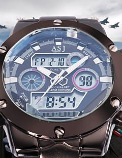 Heren Polshorloge Kwarts Japanse quartz LCD Kalender Chronograaf Waterbestendig Dubbele tijdzones alarm Roestvrij staal Band ZilverWit