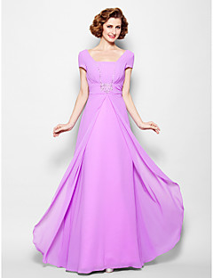 A-line Mother of the Bride Dress - Lilac Floor-length Short Sleeve Georgette