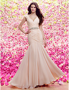 Lanting Sheath/Column Wedding Dress - Champagne Sweep/Brush Train V-neck Chiffon