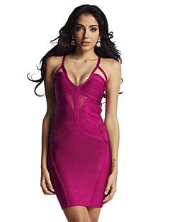 Sheath/Column Spaghetti Straps Short/Mini Spandex/Nylon Evening Celebrity Bandage Dress
