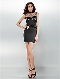 Cocktail Party Dress - Black Sheath/Column High Neck Short/Mini Jersey