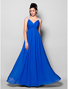 Formal Evening Dress - Royal Blue Plus Sizes / Petite A-line V-neck Floor-length Chiffon