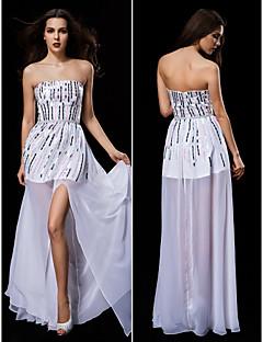 웨딩 드레스 - 화이트 시스/컬럼 바닥 길이 튜브탑 쉬폰