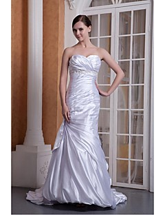 Trumpet/Mermaid Wedding Dress - Ivory Floor-length Sweetheart Stretch Satin