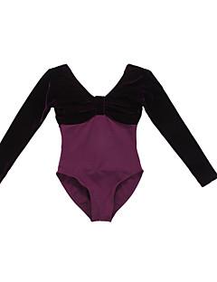 Ballet Leotards Women's/Children's Performance/Training Cotton/Velvet 1 Piece Black/Royal Blue/Dark Blue/Grape