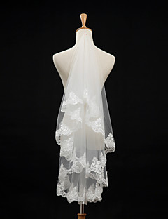 One-tier - Lace Applique Edge - Classic - Elbow Veils ( Ivory , Embroidery )