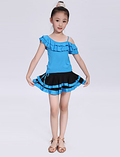 Latin Dance Outfits Children's Performance/Training Polyester Pleated Outfit Blue/Fuchsia/Red/Yellow/Leopard Print Kids Dance Costumes