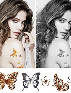 Metallic Tattoo Set Big Size Gold Tattoo Silver Temporary Tattoos Metallic Temporary Tattoos Women Jewelry