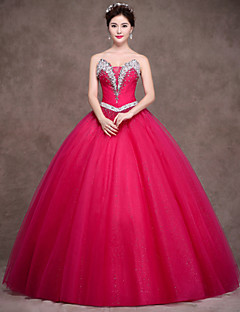 Formal Evening Dress - Sparkle & Shine Ball Gown Strapless Floor-length Satin Tulle Stretch Satin withCrystal Detailing